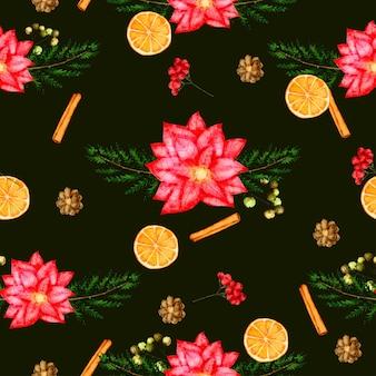 Naadloze patroonachtergrond met bladeren en bloem