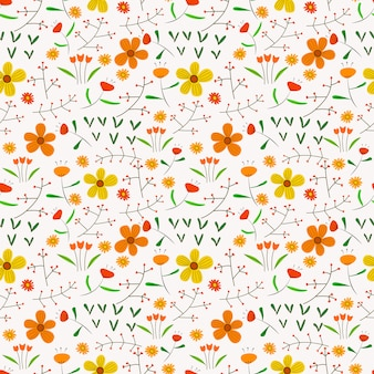 Naadloze patroonachtergrond met bloemen en bladeren.