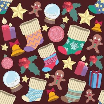 Naadloze patroonachtergrond met diverse kerstmiselementen