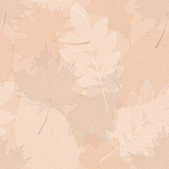 Naadloze patroonachtergrond met verschillende bladeren.