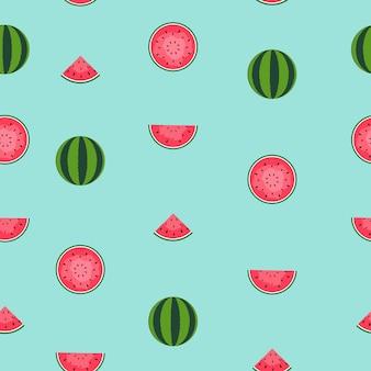 Naadloze patroonachtergrond met watermeloen. vectorillustratie