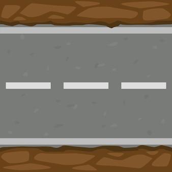 Naadloze patroonachtergrond van asfaltweg en grond. horizontale textuur van het pad en het moeras.