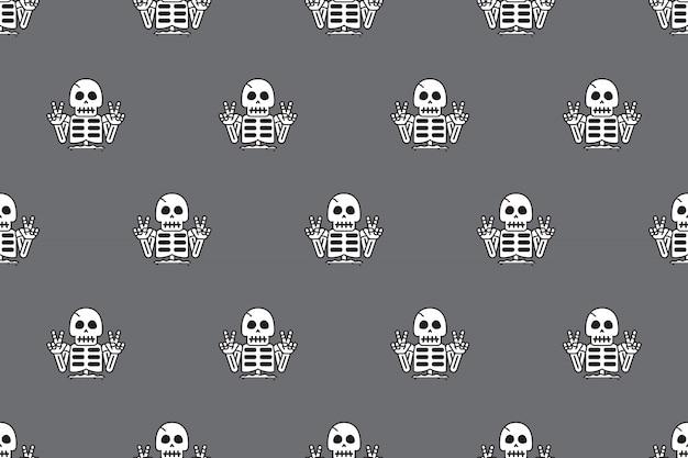 Naadloze patroonachtergrond van grappig skelet