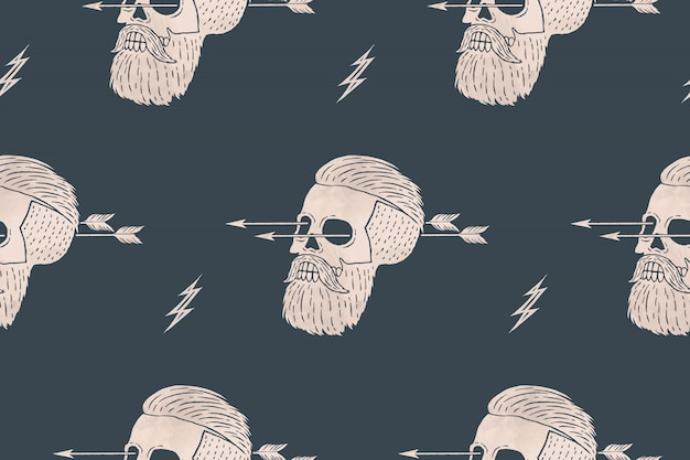 Naadloze patroonachtergrond van uitstekende schedel hipster met pijl