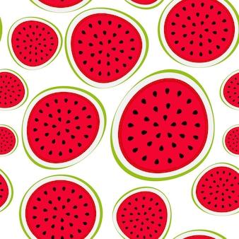 Naadloze patroonachtergrond van watermeloen. vectorillustratie. eps10