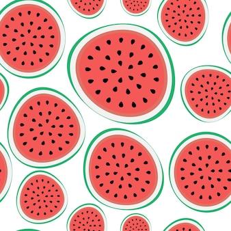 Naadloze patroonachtergrond van watermeloen. vectorillustratie