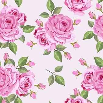 Naadloze patroonbladeren en roos vectorbehang