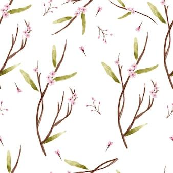 Naadloze patroonbloem en bladeren