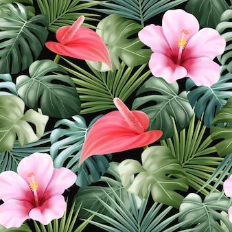 Naadloze patroonbloem en tropische bladeren Premium Vector