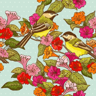 Naadloze patroonbloemen en vogels voor ontwerp