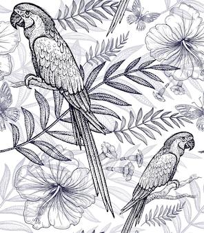 Naadloze patroonbloemen en vogels.
