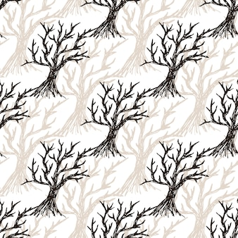 Naadloze patroonboom zonder bladeren. halloween-de herfstachtergrond of de winterachtergrond
