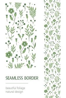 Naadloze patroonborstel met groene bladeren, bessen, bloemen op witte achtergrond.