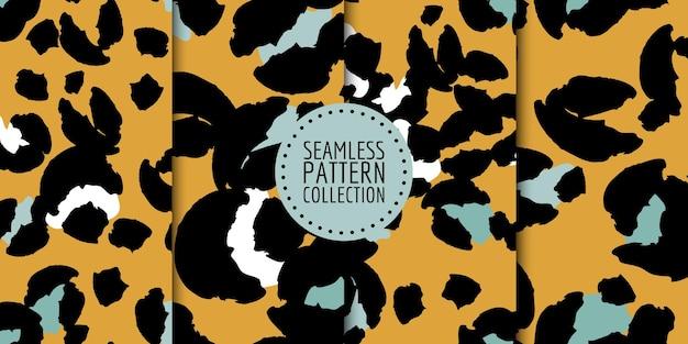Naadloze patrooncollectie met luipaardvlekken