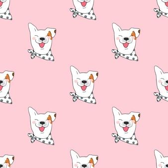 Naadloze patroonhond als achtergrond op roze