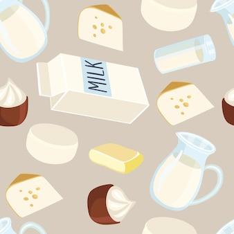 Naadloze patroonillustraties van zuivelproductie. melkkan, boter, een glas melk, zure room, kwark