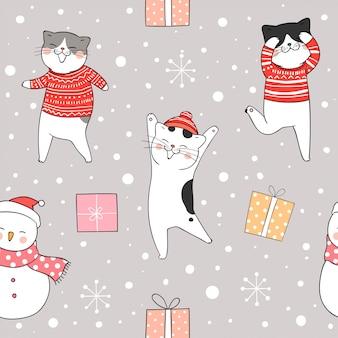 Naadloze patroonkat in sneeuw voor kerstmis en nieuw jaar.