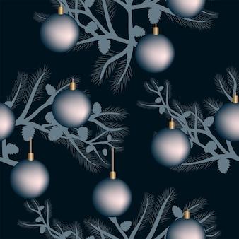 Naadloze patroonkerstversiering donkerblauwe achtergrond ballen sterren feestelijk decor nieuwjaar