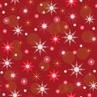 Naadloze patroonkerstversiering rode achtergrond neon slinger sneeuwvlokken sterren nieuwjaar