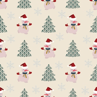 Naadloze patroonkerstversiering witte achtergrond sneeuwpop sneeuwvlokken feestelijk decor nieuwjaar