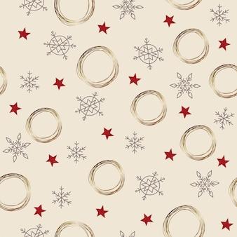 Naadloze patroonkerstversiering witte achtergrond sneeuwvlokken sterren feestelijk decor nieuwjaar