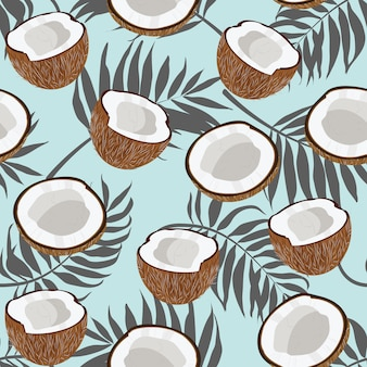 Naadloze patroonkokosnoot en palmbladen