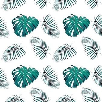 Naadloze patroonmonstera en palmbladenachtergrond.