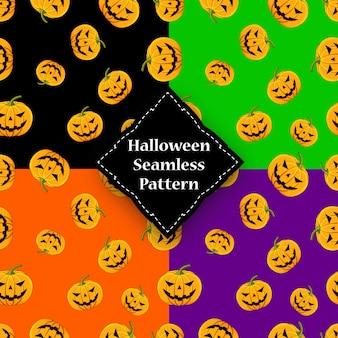 Naadloze patroonpompoen met ogen en mond halloween