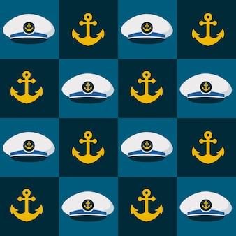 Naadloze patroonrobot en schattige zeeman