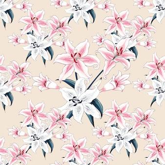 Naadloze patroonroze lilly bloeit pastelkleurachtergrond.