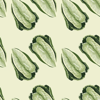 Naadloze patroonsalade romano op beige achtergrond. minimalisme sieraad met sla. geometrische plant sjabloon voor stof. ontwerp vectorillustratie.