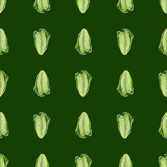Naadloze patroonsalade romano op groene achtergrond. minimalisme sieraad met sla.