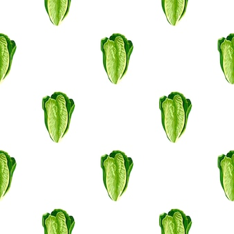 Naadloze patroonsalade romano op witte achtergrond. minimalisme ornament met sla. geometrische plant sjabloon voor stof. ontwerp vectorillustratie.