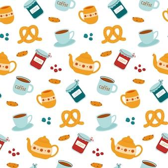 Naadloze patroonthee, koffie met jam en koekjes Premium Vector
