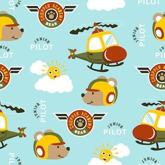 Naadloze patroonvector met grappige helikopterpiloot, vleugelembleem, zon en wolken