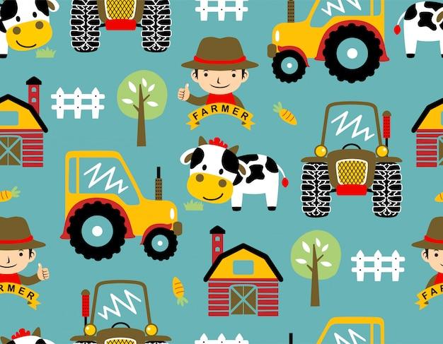 Naadloze patroonvector met het beeldverhaal van het boerenerfthema