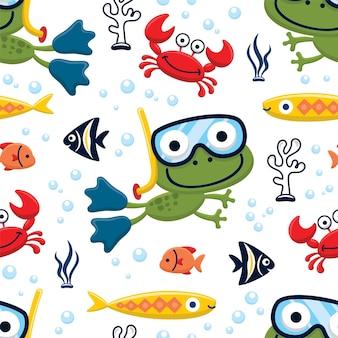 Naadloze patroonvector van duikende kikker met zeedieren