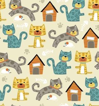 Naadloze patroonvector van grappig kattenbeeldverhaal