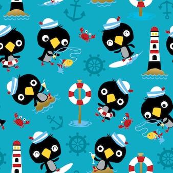 Naadloze patroonvector van het beeldverhaalactiviteiten van de pinguïnzeeman