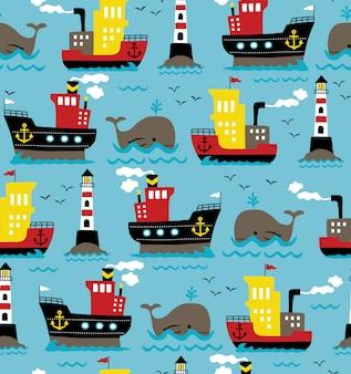 Naadloze patroonvector van vrachtschepen met walvis en vuurtoren