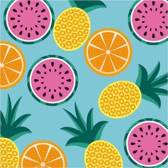 Naadloze patroonvruchten ananassinaasappel en watermeloen