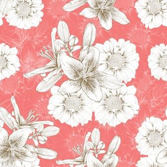 Naadloze patroonwijnoogst lilly en de bloemen abstracte achtergrond van zinnia.