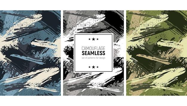 Naadloze penseelstreek patroon. camouflage achtergrond