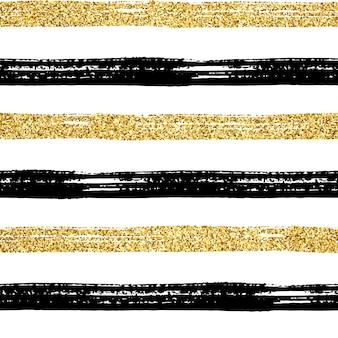 Naadloze penseelstreek patroon. zwarte en gouden glitter hand getrokken strepen op wit. geweven gestreept gouden abstract ontwerp als achtergrond. trendy textuur voor print, behang, decor, stof, textil