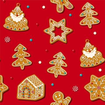 Naadloze peperkoek kerstkoekje vector patroon rode achtergrond