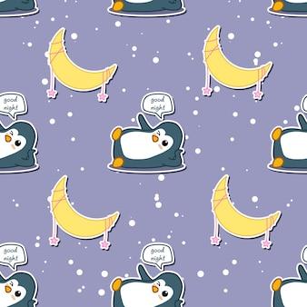 Naadloze pinguïn zegt welterusten met maan patroon.