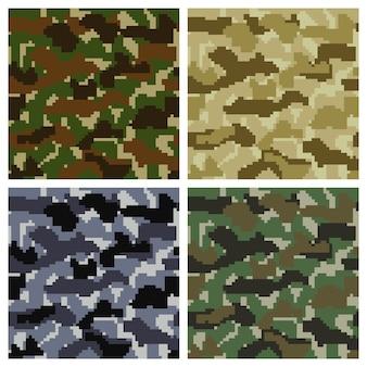 Naadloze pixel camouflage achtergrond set