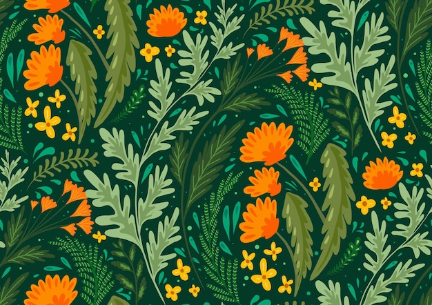 Naadloze platte natuurlijke patroon met kruiden en bloemen van de velden. behang met paardenbloemen, alsem, venkel en boterbloemen. stof met planten. vector achtergrond