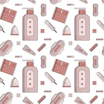 Naadloze platte patroon van vrouwelijke hygiëne
