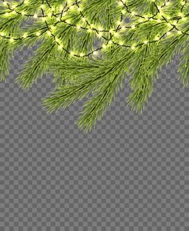Naadloze rand met relistic firtree, sprankelende lichten en slingers
